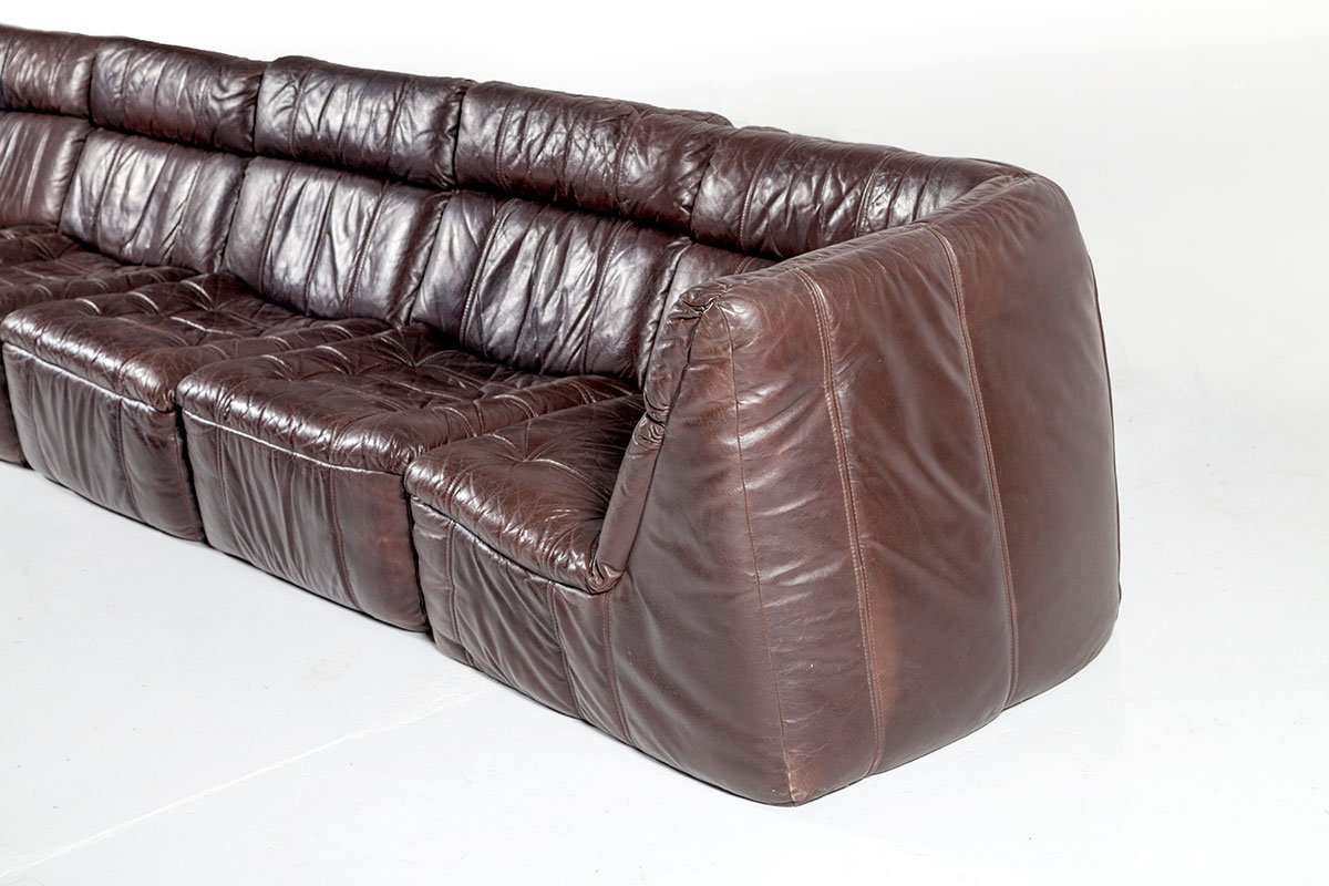 Modulares Vintage Leder Sofa von Rolf Benz 1970er bei