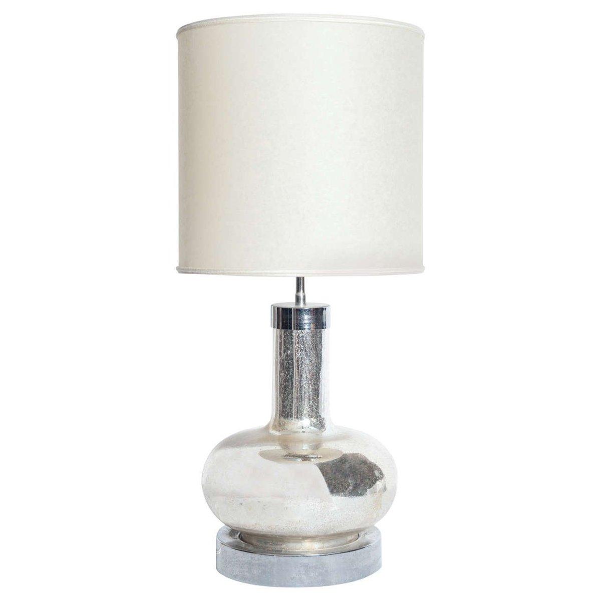Vintage Tischlampe aus Silberglas & Chrom