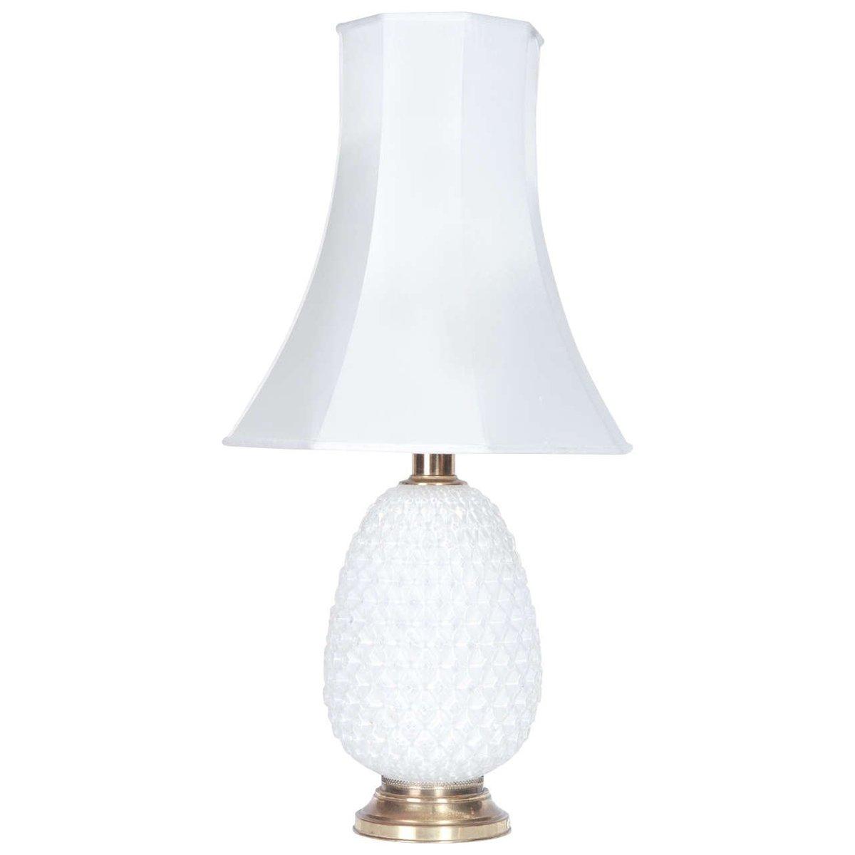 Lampe aus Opalglas & Messing, 1950er
