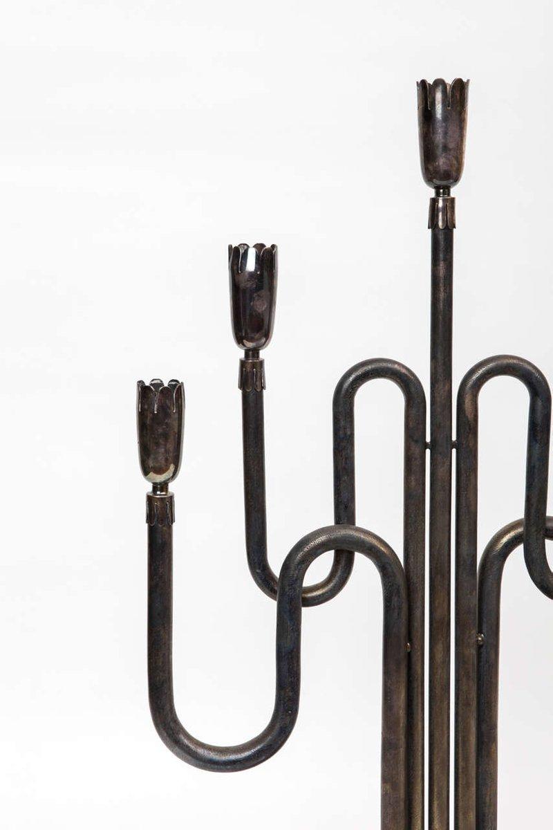 versilberte kandelaber 1950er 2er set bei pamono kaufen. Black Bedroom Furniture Sets. Home Design Ideas