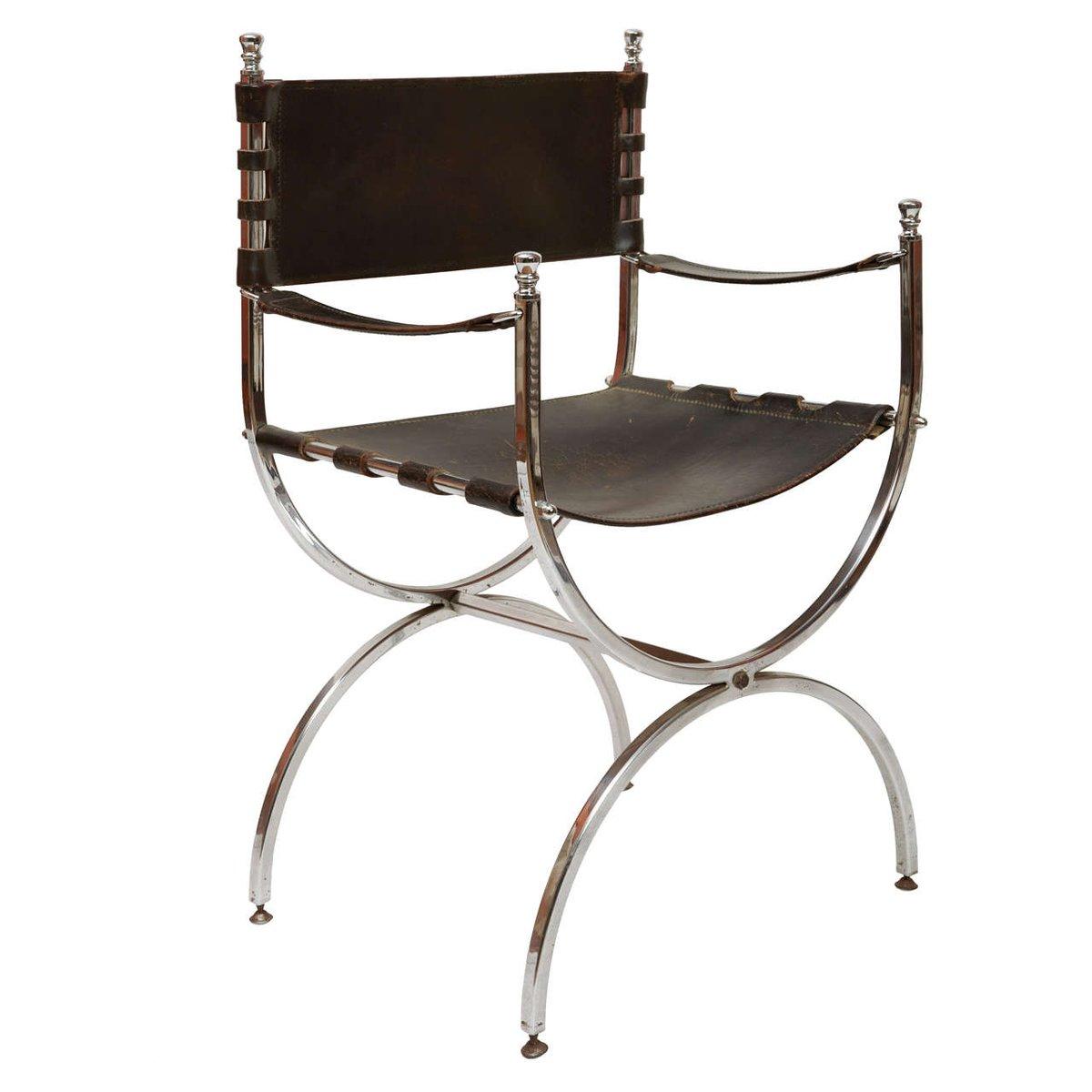 Vintage Sessel aus Eisen & Leder, 1970er