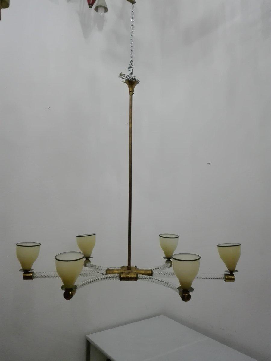 lustre en verre et laiton par paolo venini 1940s en vente sur pamono. Black Bedroom Furniture Sets. Home Design Ideas