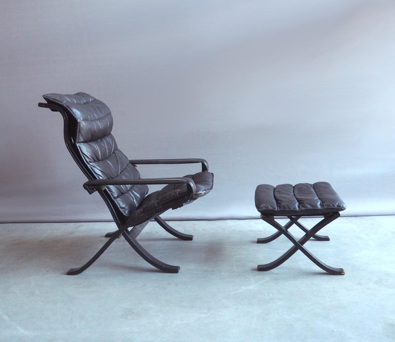 Vintage Relax Polsterstuhl mit Ottoman von Ingmar Relling für Westnofa