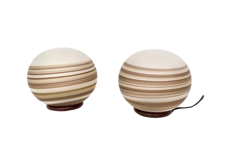 Spherische Italienische Tischlampen aus Glas von VeArt, 1970er, 2er Se...