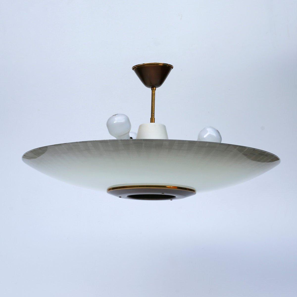 Deutsche Vintage Art Deco UFO Deckenlampe, 1940er