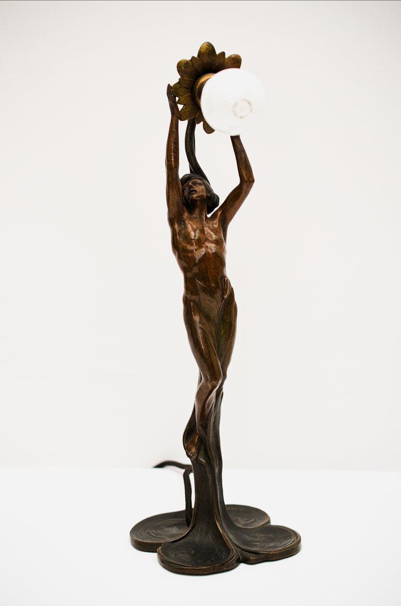 Wiener Bronze Tischlampe von Peter Tereszczuk