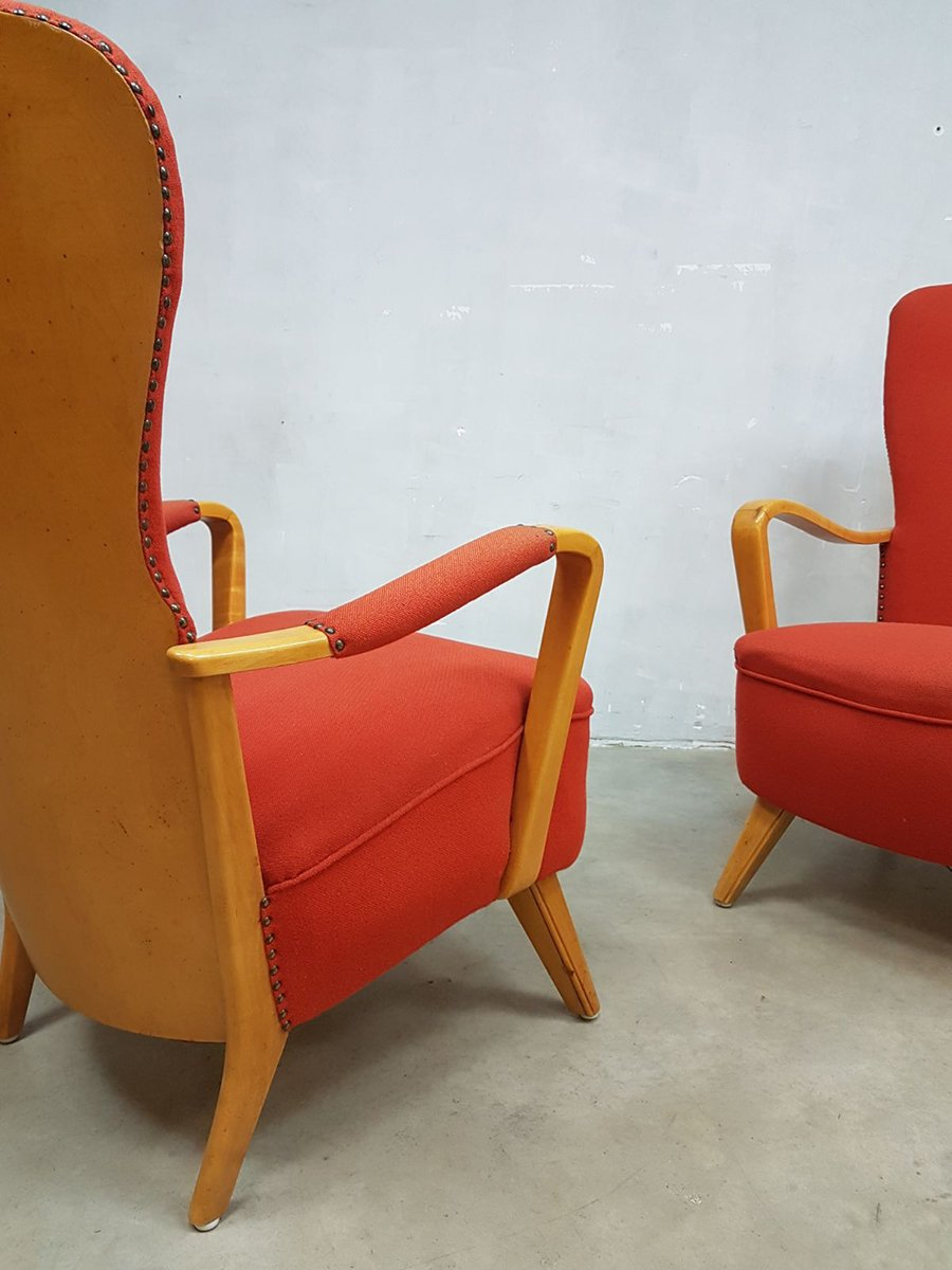fauteuil oreille lucie vintage par cees braakman pour pastoe set de 2 en vente sur pamono. Black Bedroom Furniture Sets. Home Design Ideas