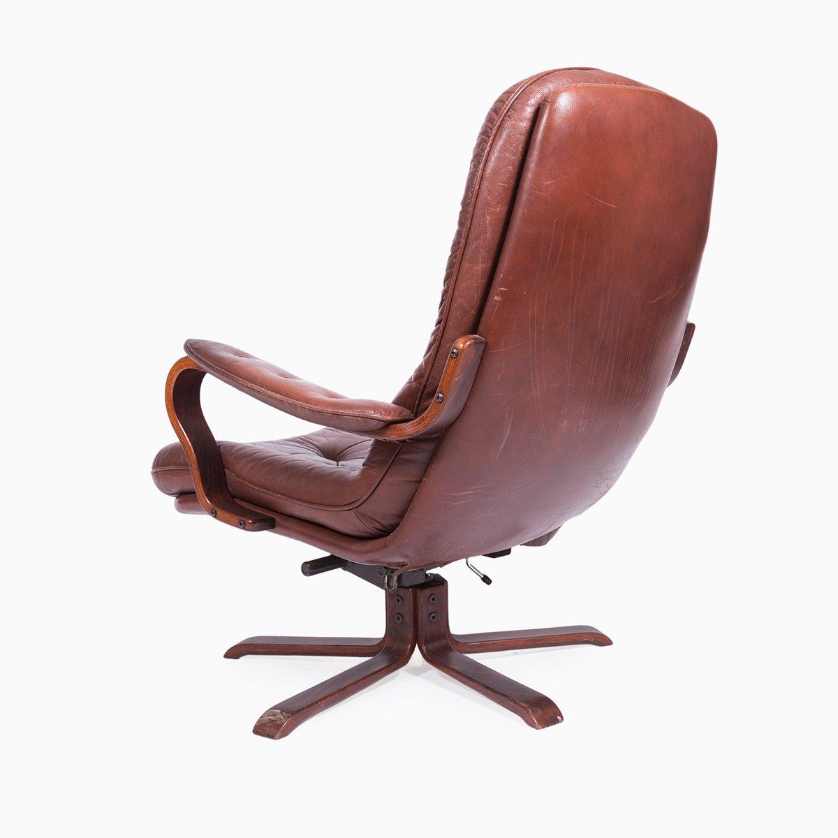 fauteuil pivotant vintage en cuir 1970s en vente sur pamono. Black Bedroom Furniture Sets. Home Design Ideas