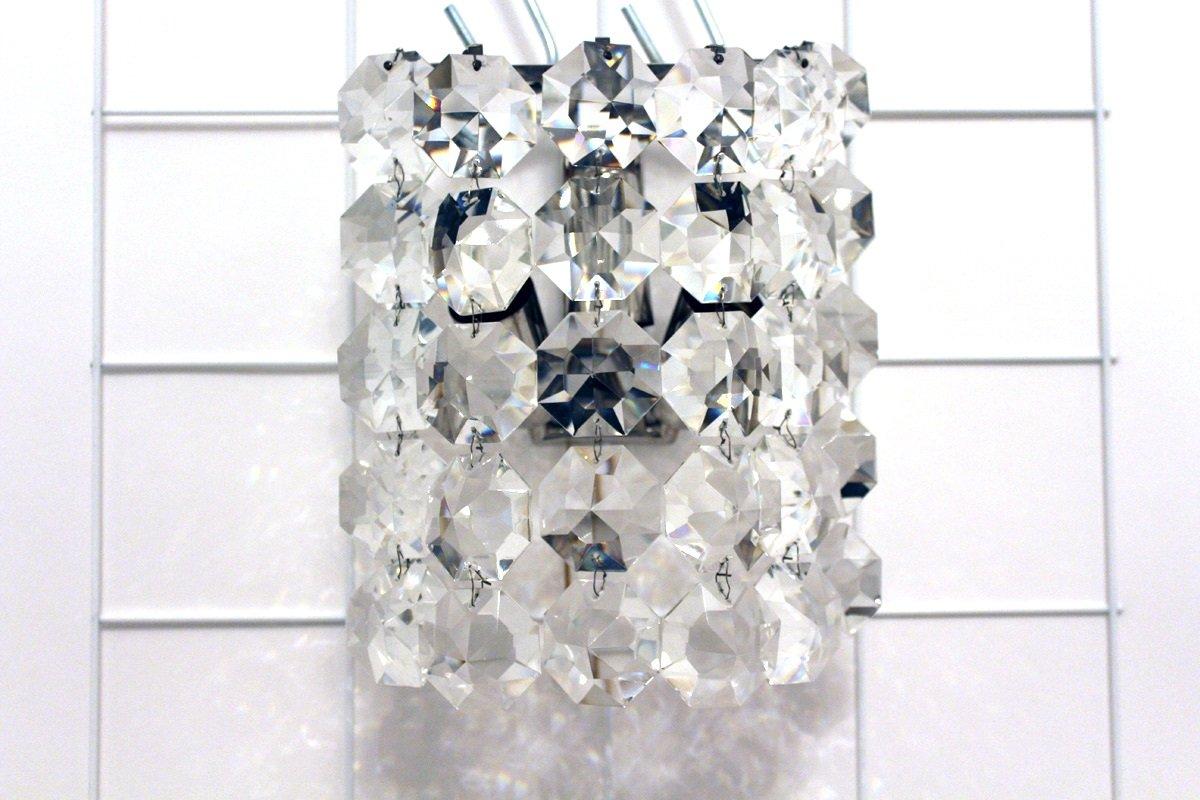 Vintage Kristallglas Wandlampe von Bakalowits & Sohne