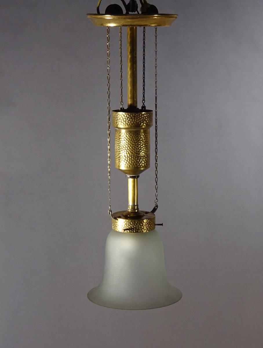 Deckenlampe aus Gehämmertem Messing & Glockenglas von Bag Turgi, 1900e...