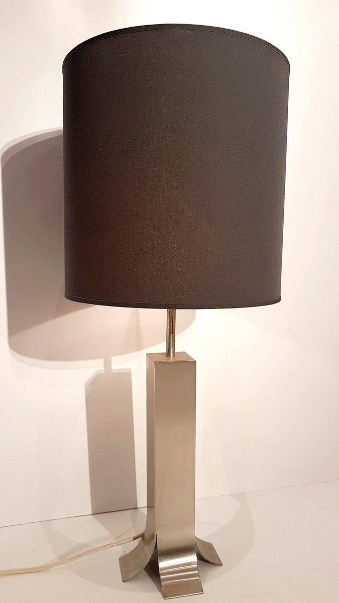 Tischlampe aus Gebürstetem Stahl von Maison Jansen, 1970
