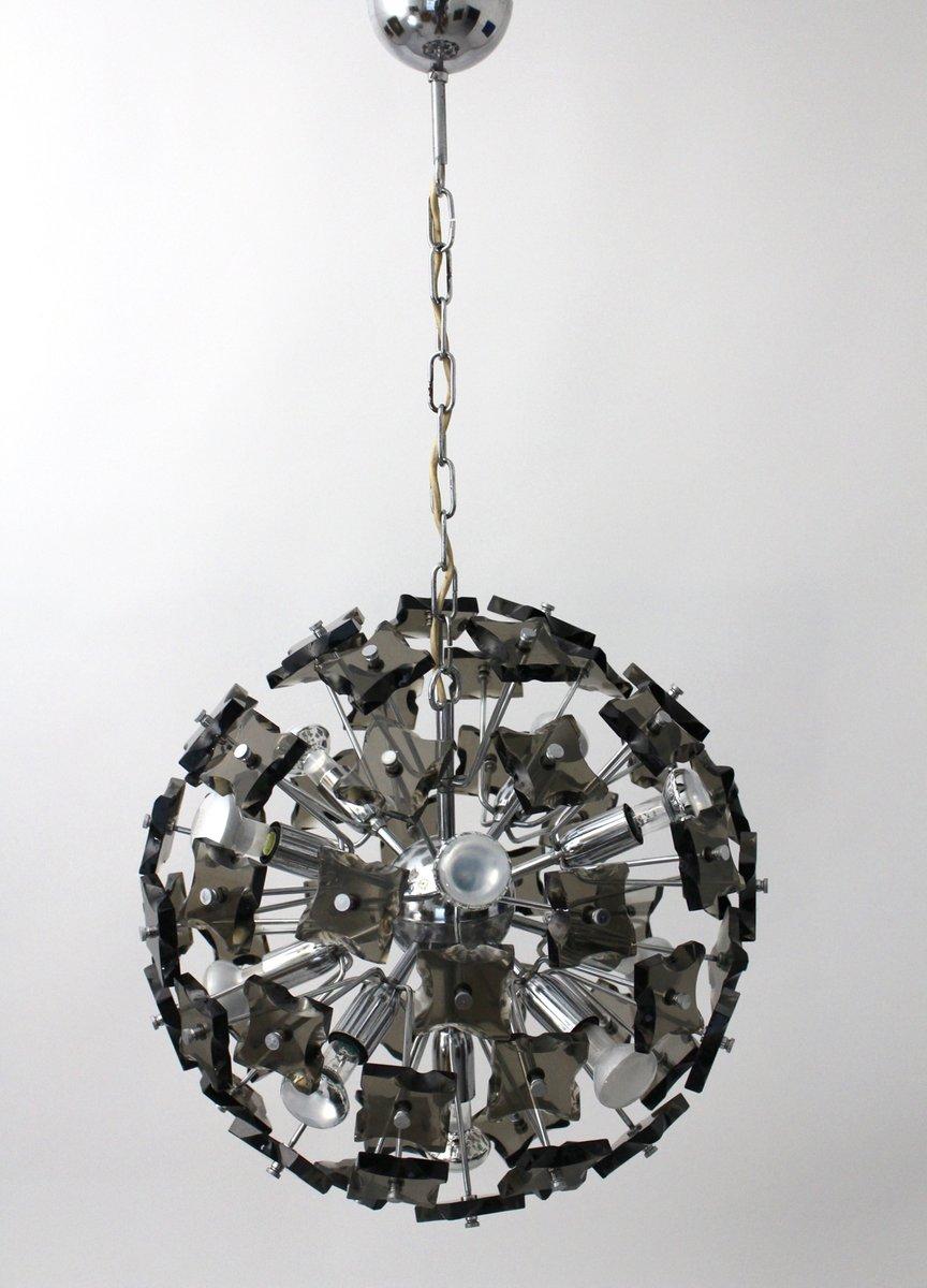 lustre en cristal fum italie 1960s en vente sur pamono. Black Bedroom Furniture Sets. Home Design Ideas