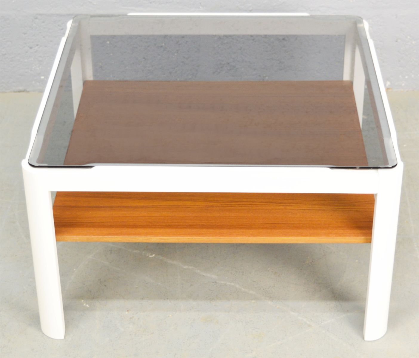 Mid-Century Smoked Glass And Teak Coffee Table, 1970s For