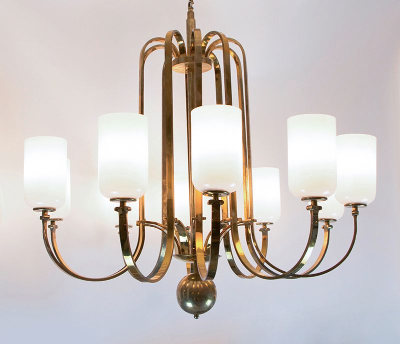 Vintage art deco chandelier in brass for sale at pamono vintage art deco chandelier in brass aloadofball Images