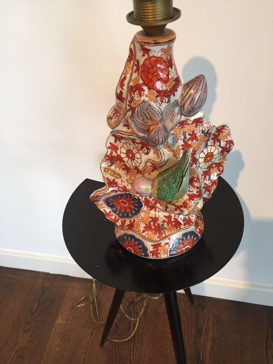 pied de lampe en c ramique peint la main japon 1930s en vente sur pamono. Black Bedroom Furniture Sets. Home Design Ideas