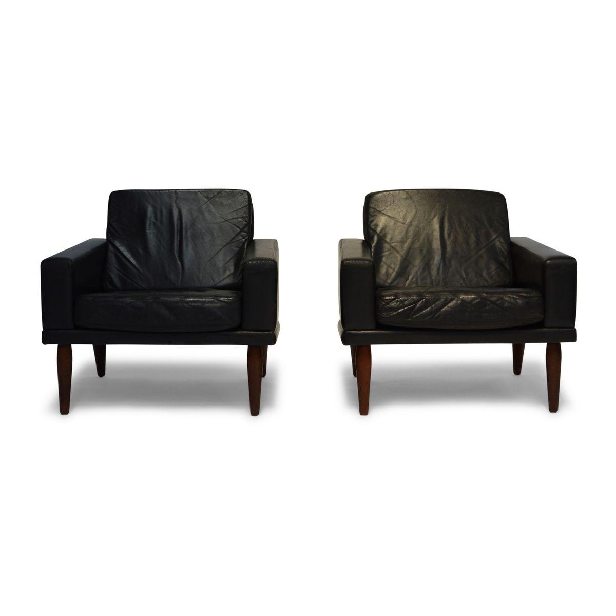 Sessel aus Schwarzem Leder & Palisander von Bovenkamp, 1960er, 2er Set