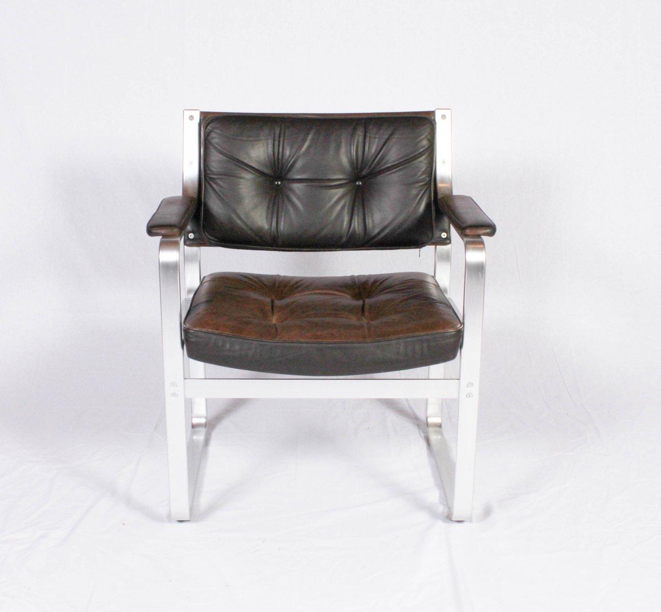 Brauner Mondo Leder& Aluminium Armlehnstuhl von Karl Erik Ekselius für...