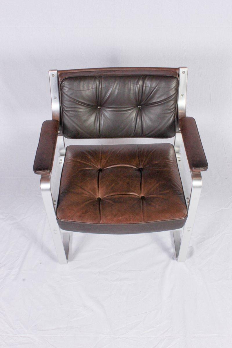 brauner mondo leder aluminium armlehnstuhl von karl erik ekselius f r joc vetlanda bei pamono. Black Bedroom Furniture Sets. Home Design Ideas