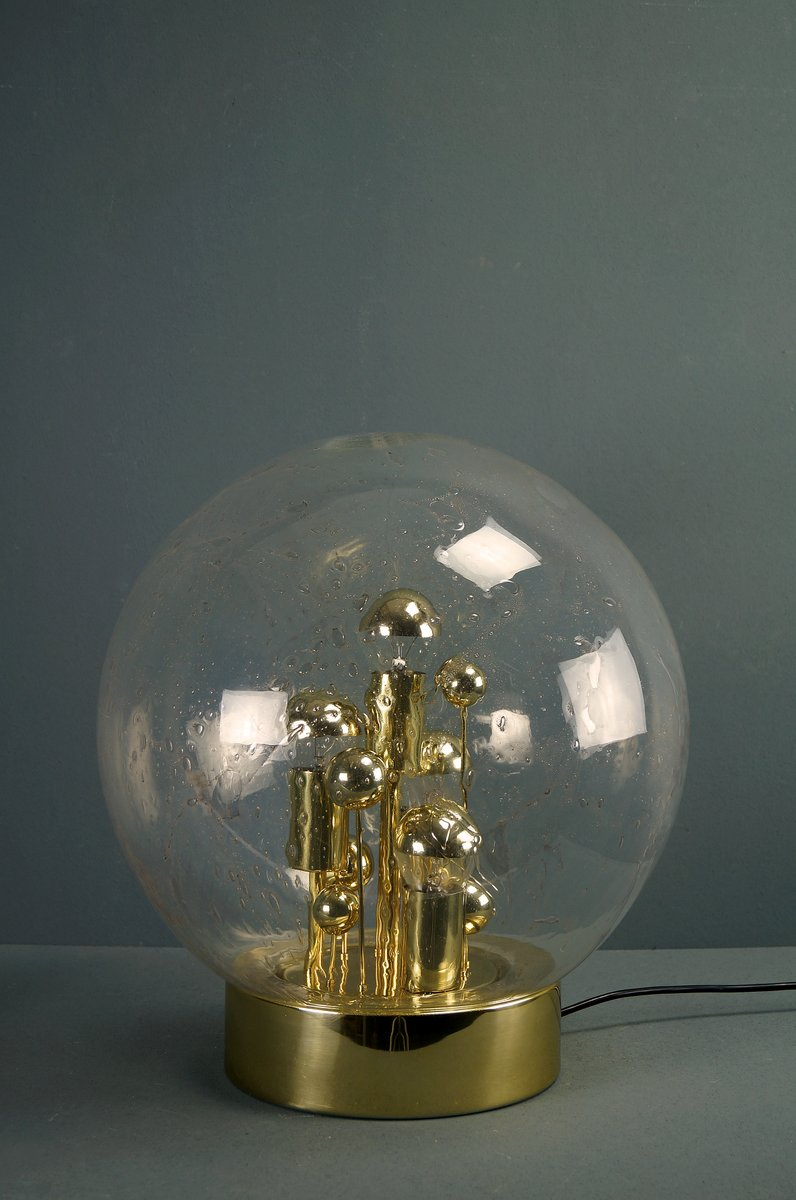 Große Vintage Goldfarbene Sputnik Tischlampe von Doria