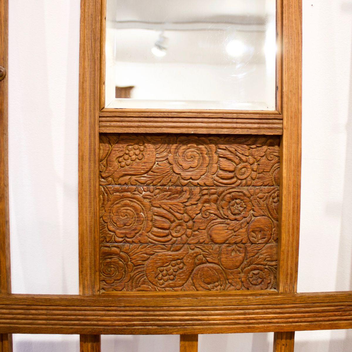 Attaccapanni a muro da ingresso in legno, anni \'30 in vendita su Pamono