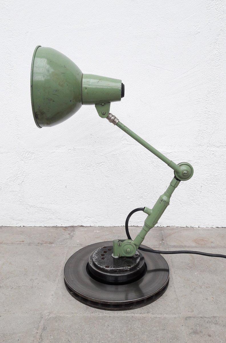 Vintage Industrie Schreibtischlampe in Grün