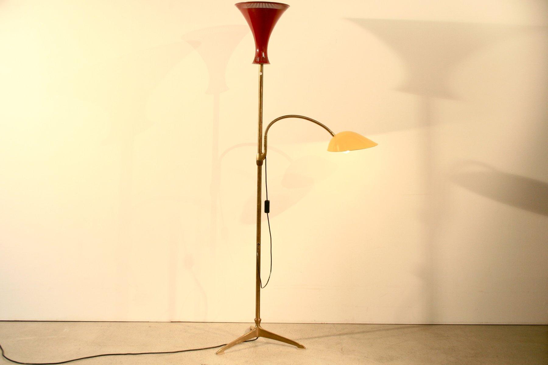Stehlampe in Rot & Gelb von BAG Turgi, 1950er