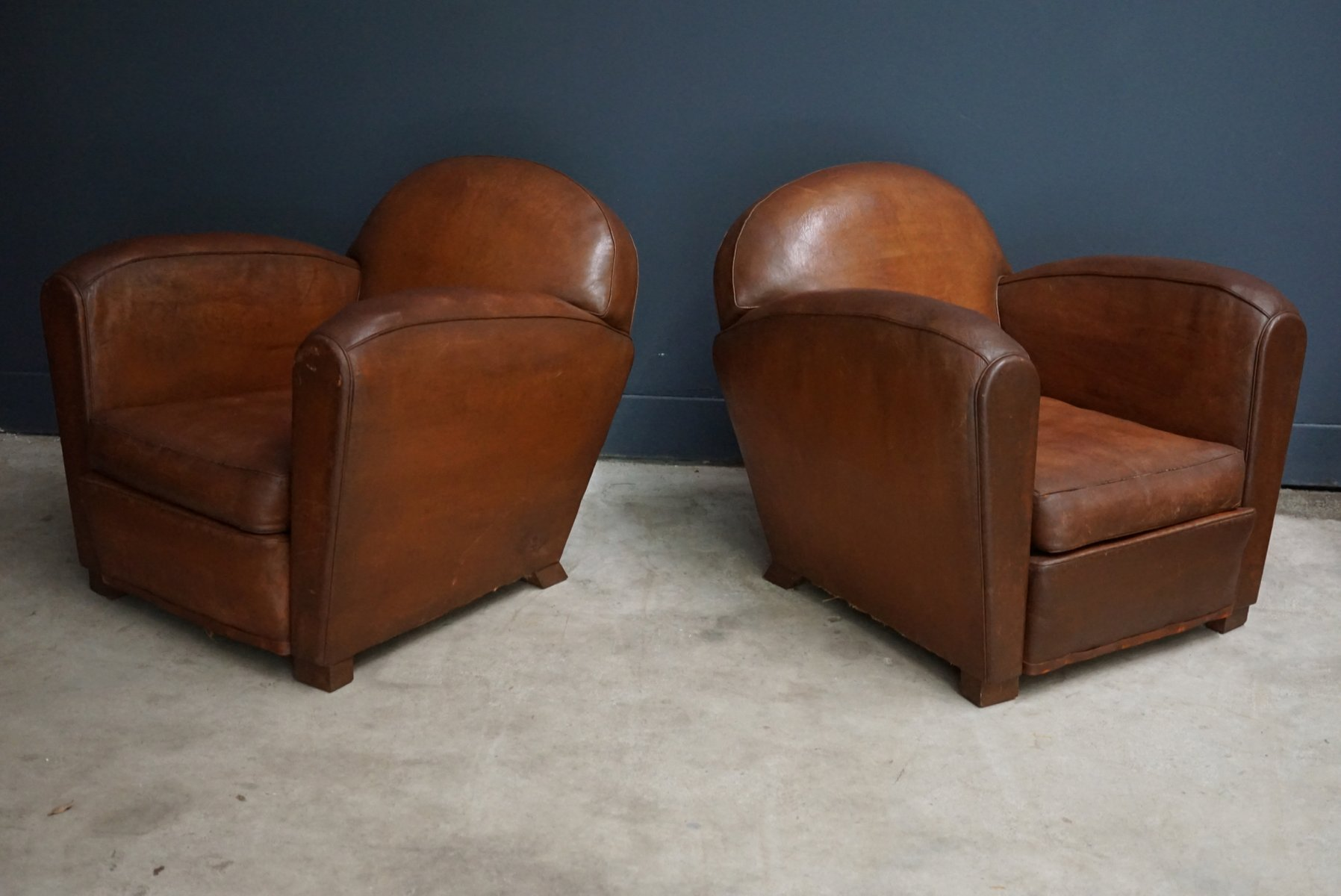 Vintage French Cognac Leather Club Chairs Set Of 2