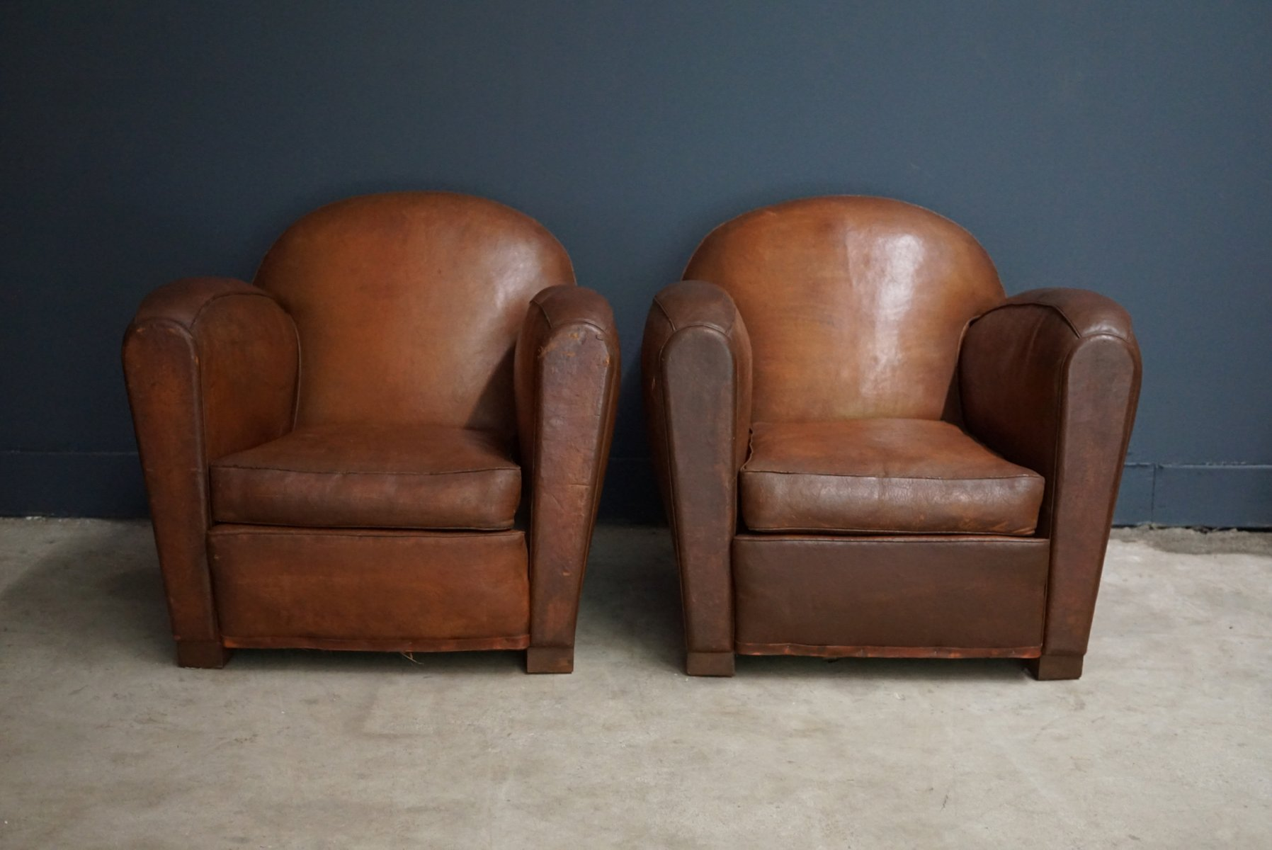 Merveilleux Vintage French Cognac Leather Club Chairs, Set Of 2