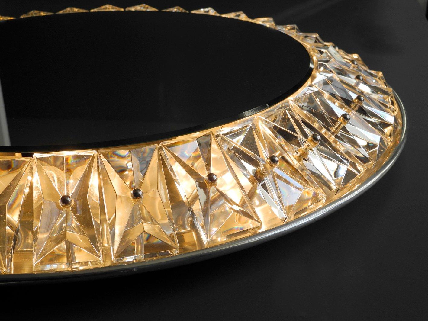 Specchio da parete grande rotondo in cristallo con luce di kinkeldey anni 39 60 in vendita su pamono - Specchio parete grande ...