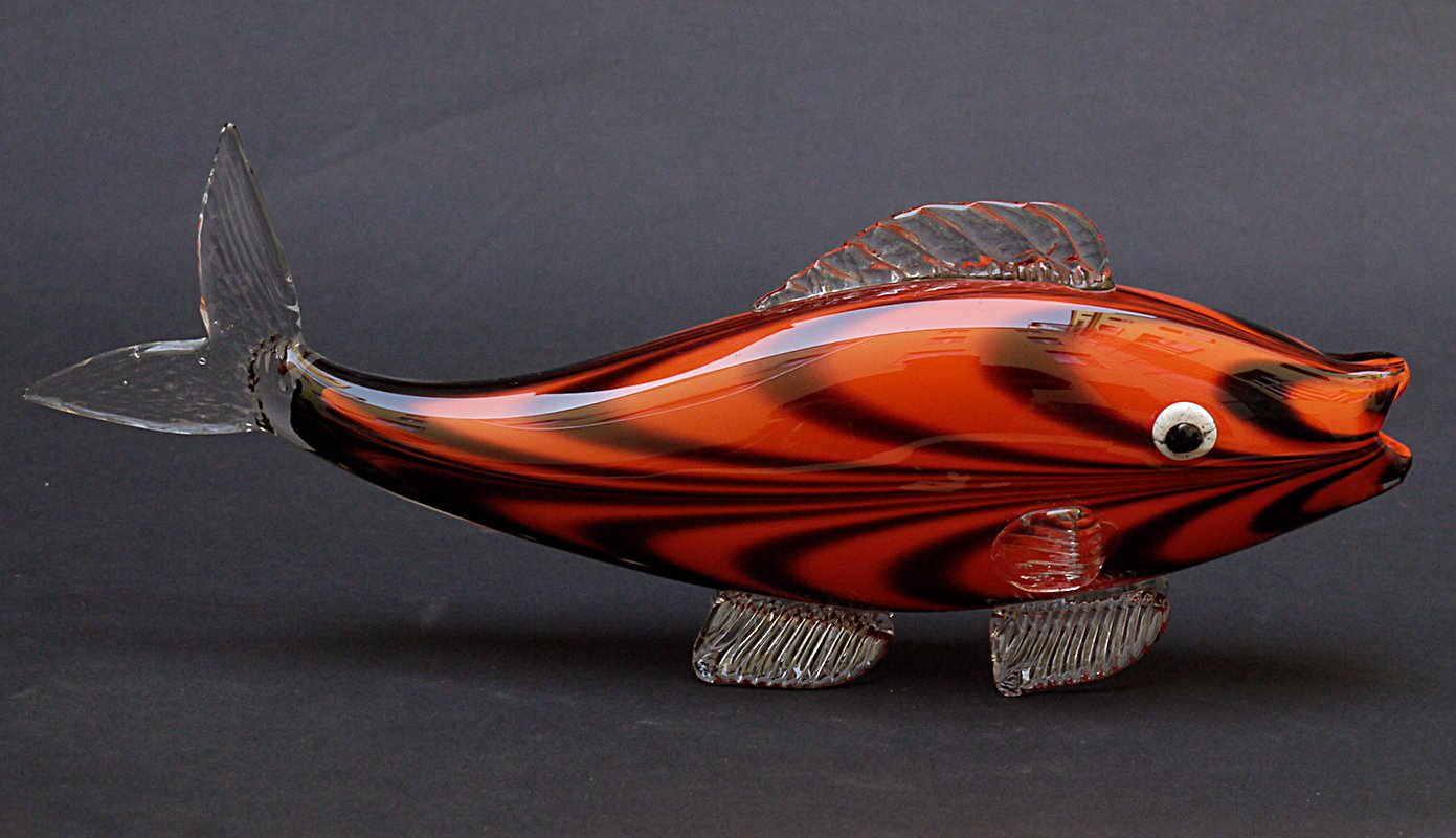 Mid-Century Glass Fish Vase from Zelezny Brod for sale at Pamono