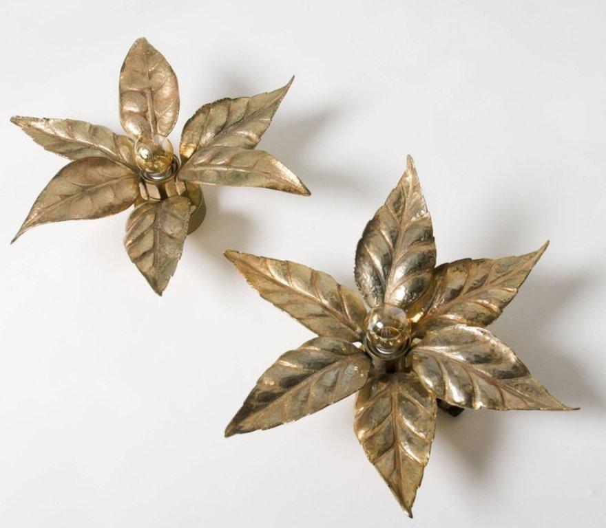 Blumen Wandlampen aus Messing von Massive, 1970er, 2er Set