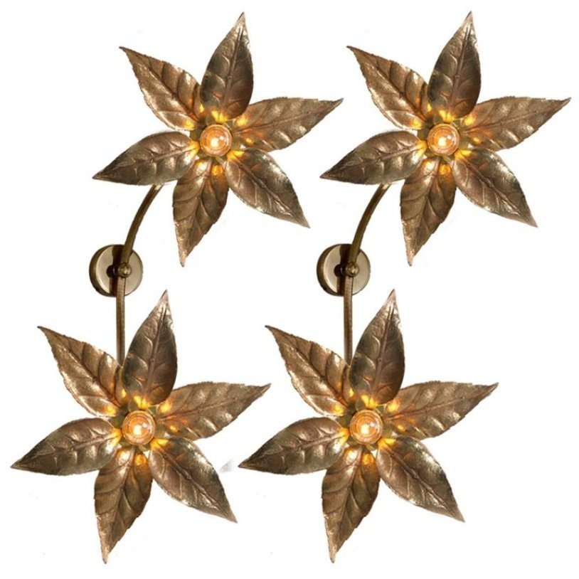 Belgische Doppel-Blumen Wandlampen von Massive, 1970er, 2er Set