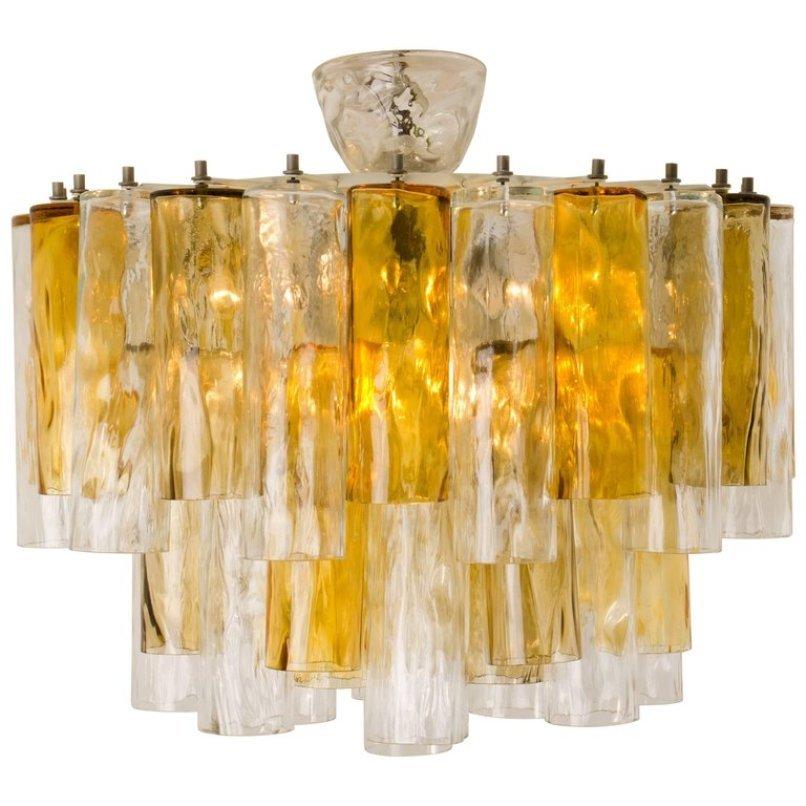 Großer Kronleuchter aus Klaren und Ockerfarbenen Glasröhren von Barovi...