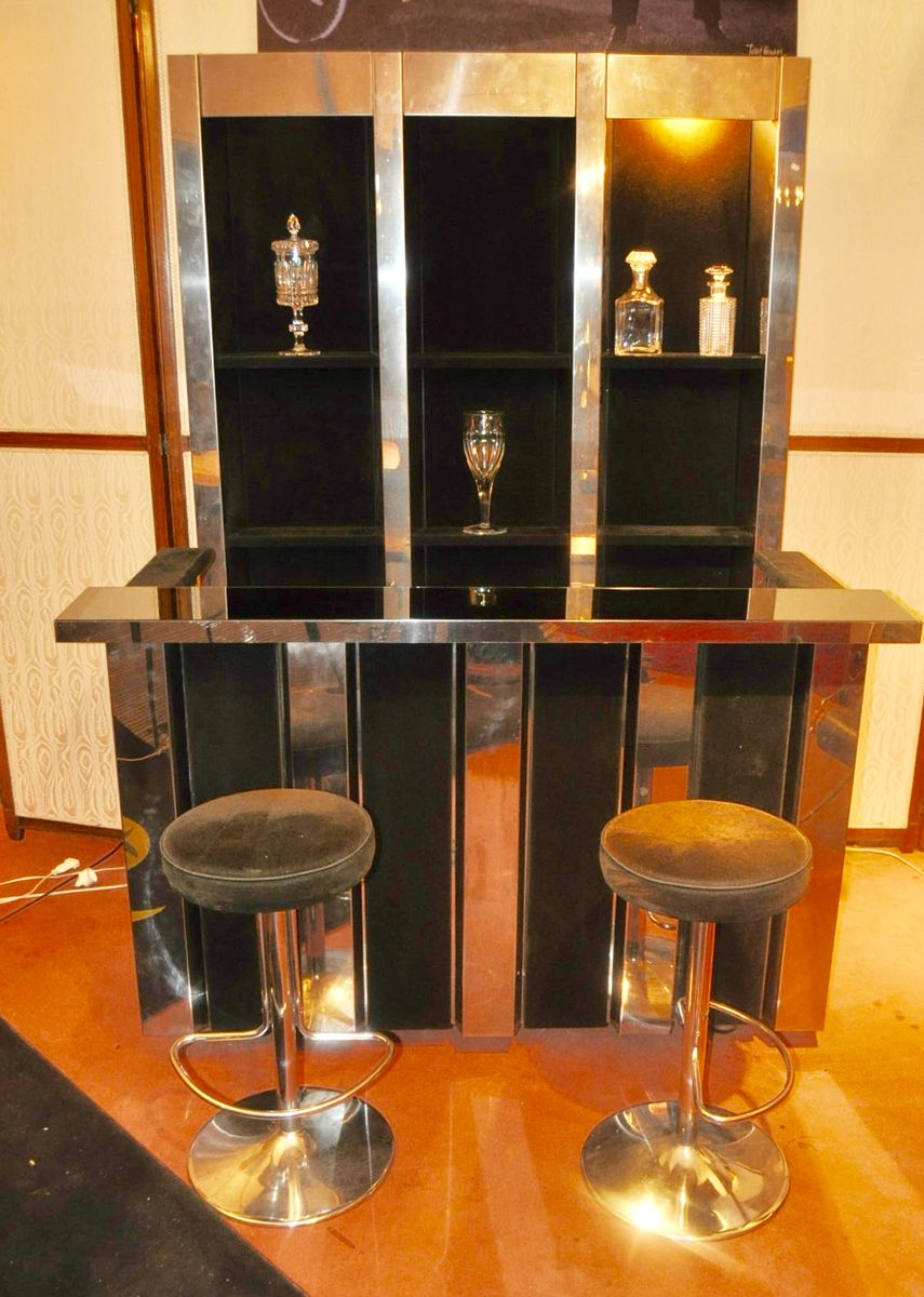 Vintage Bar aus Edelstahl und Schwarzem Wildleder