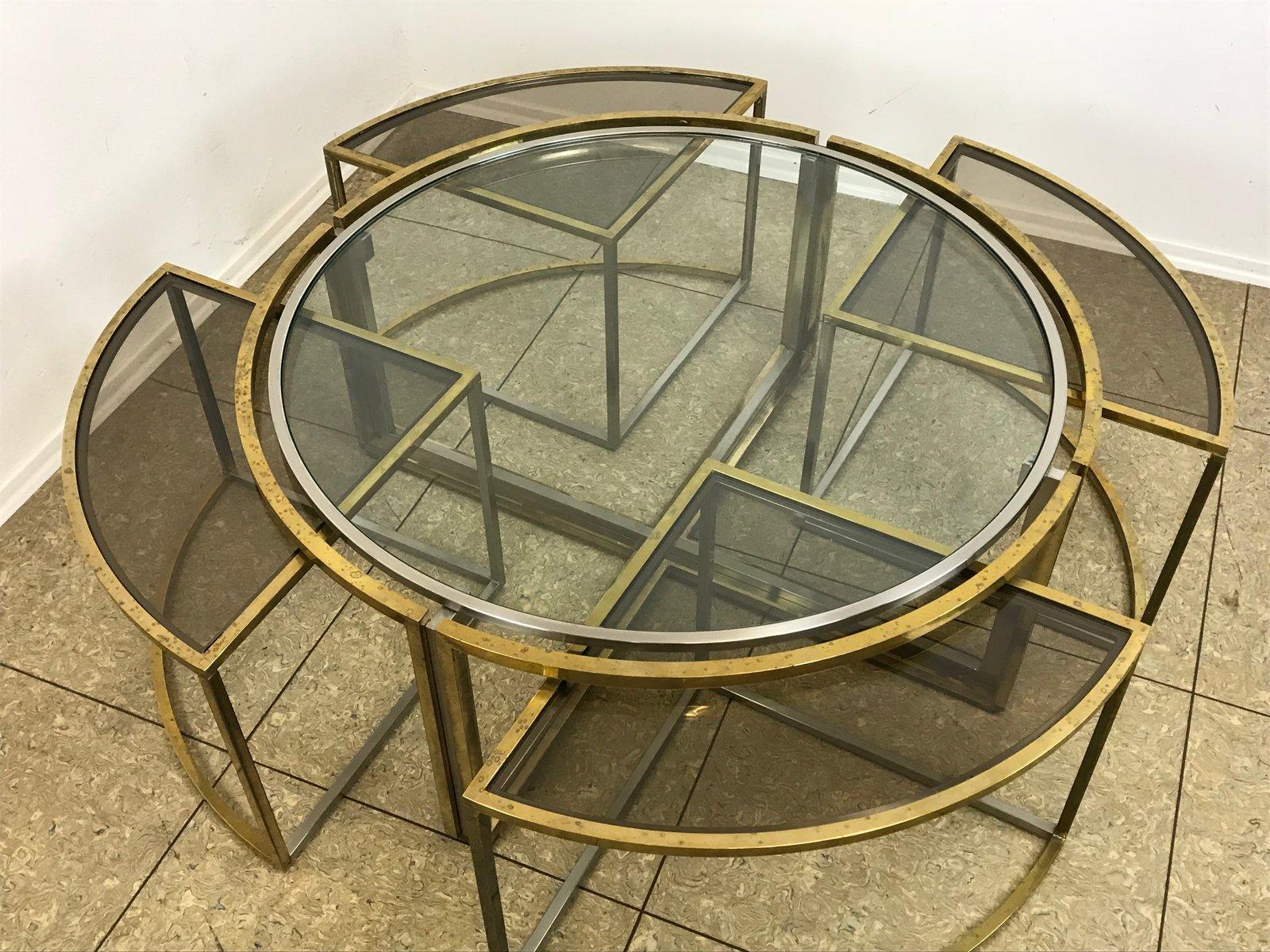 table basse vintage en laiton et chrome avec 4 tables gigognes en vente sur pamono. Black Bedroom Furniture Sets. Home Design Ideas