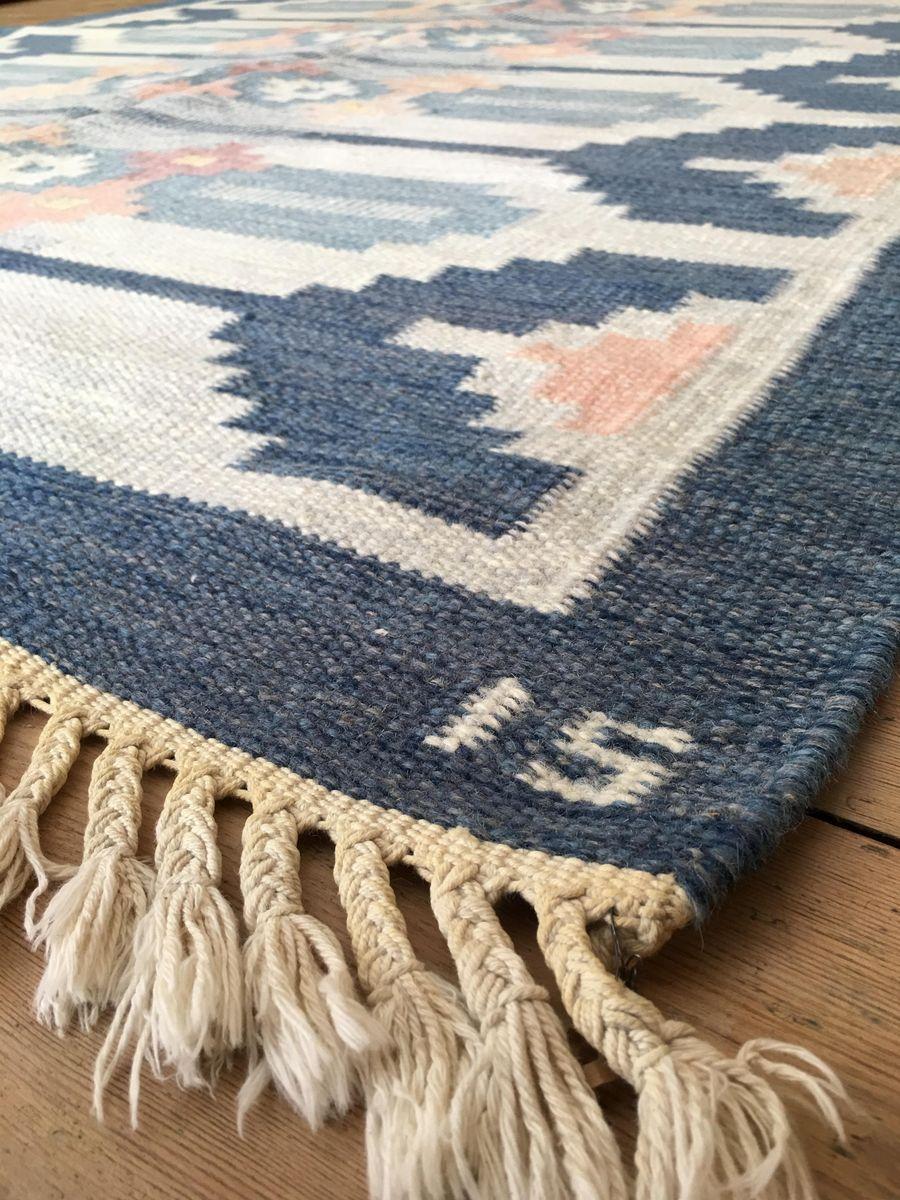 schwedischer mid century rolakan flachgewebe teppich aus wolle von ingegerd silow bei pamono kaufen. Black Bedroom Furniture Sets. Home Design Ideas