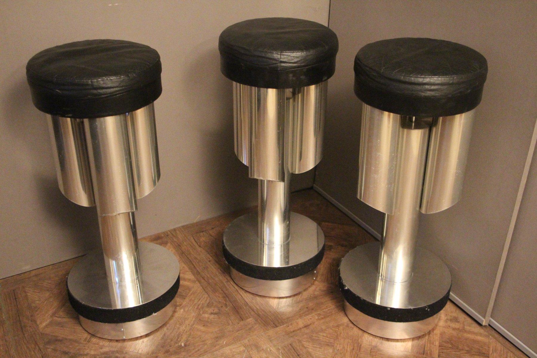 Sgabelli bar mid century in alluminio spazzolato ed acciaio italia