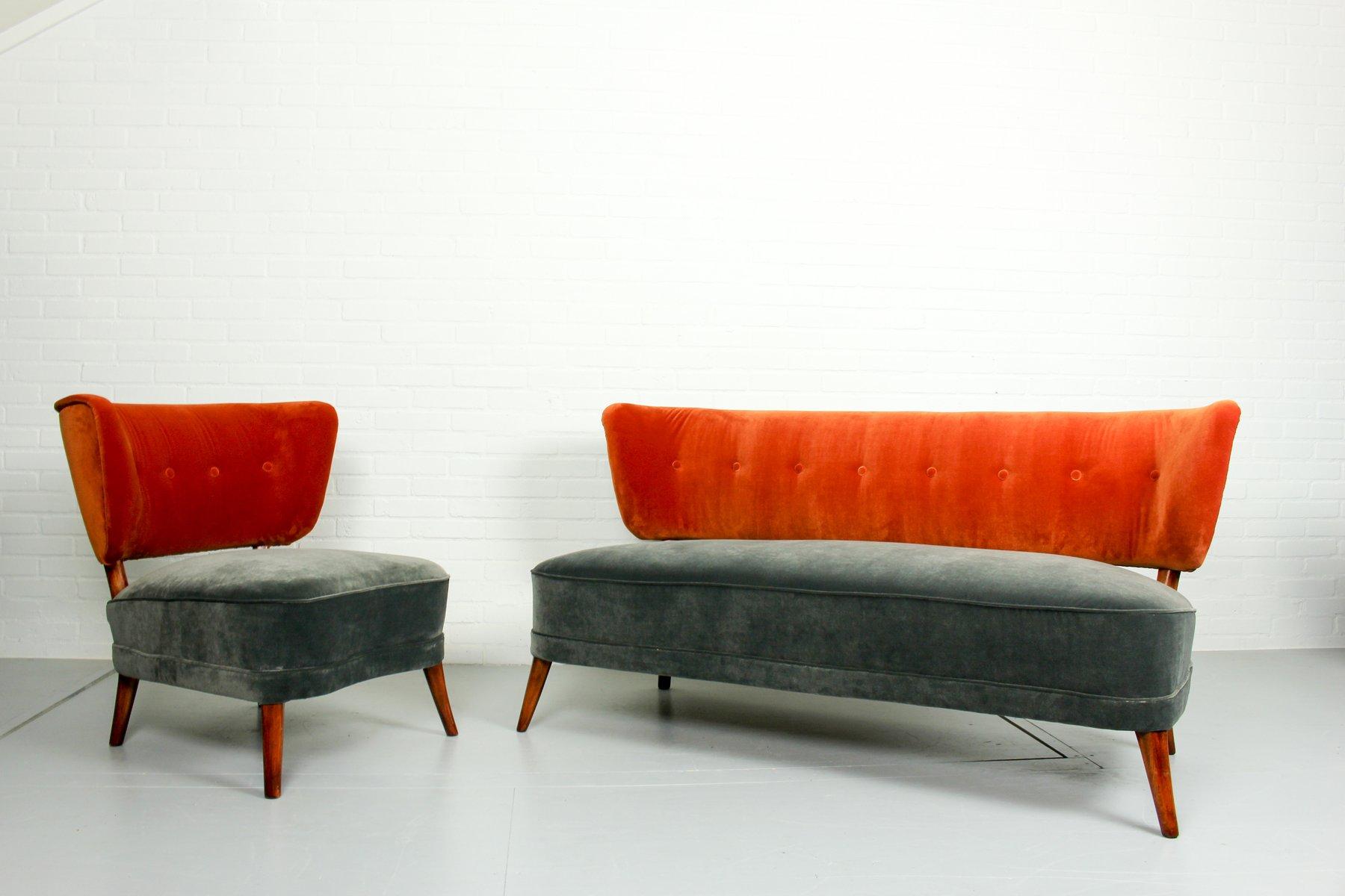 Sedia da cocktail vintage in velluto con divano coordinato anni