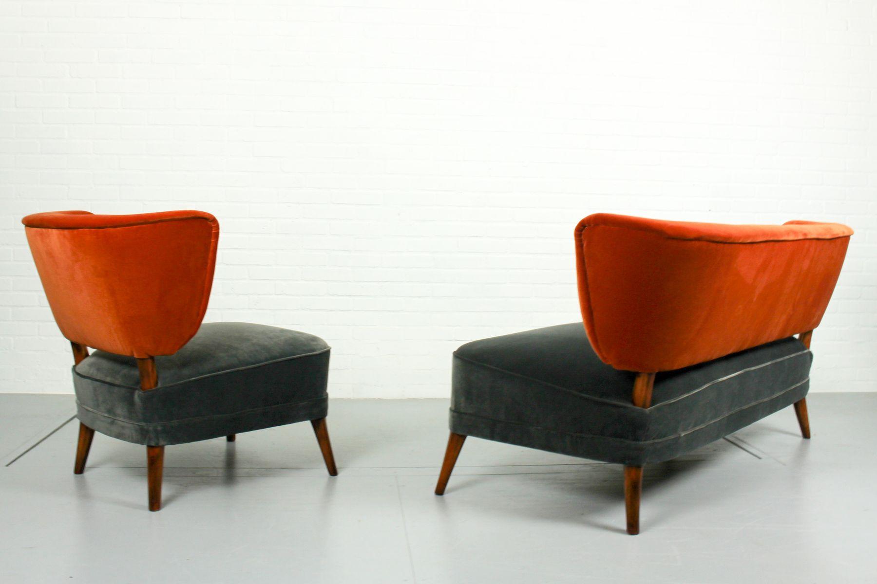fauteuil cocktail vintage en velours et canap assorti 1950s set de 2 en vente sur pamono. Black Bedroom Furniture Sets. Home Design Ideas