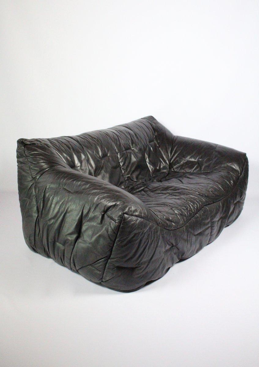 canap 2 places vintage en cuir noir par hans hopfer pour roche bobois en vente sur pamono. Black Bedroom Furniture Sets. Home Design Ideas
