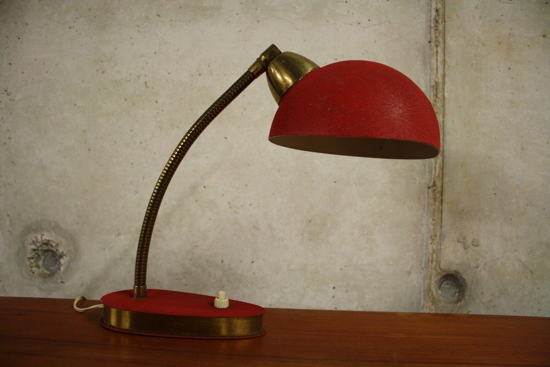 Rote Skandinavische Vintage Schreibtischlampe, 1950er