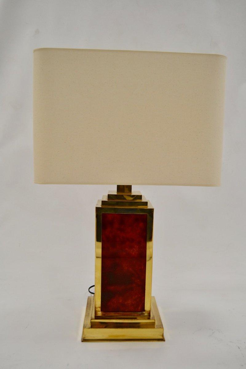 Französische Lampen aus Plexiglas & Messing, 1970er, 2er Set