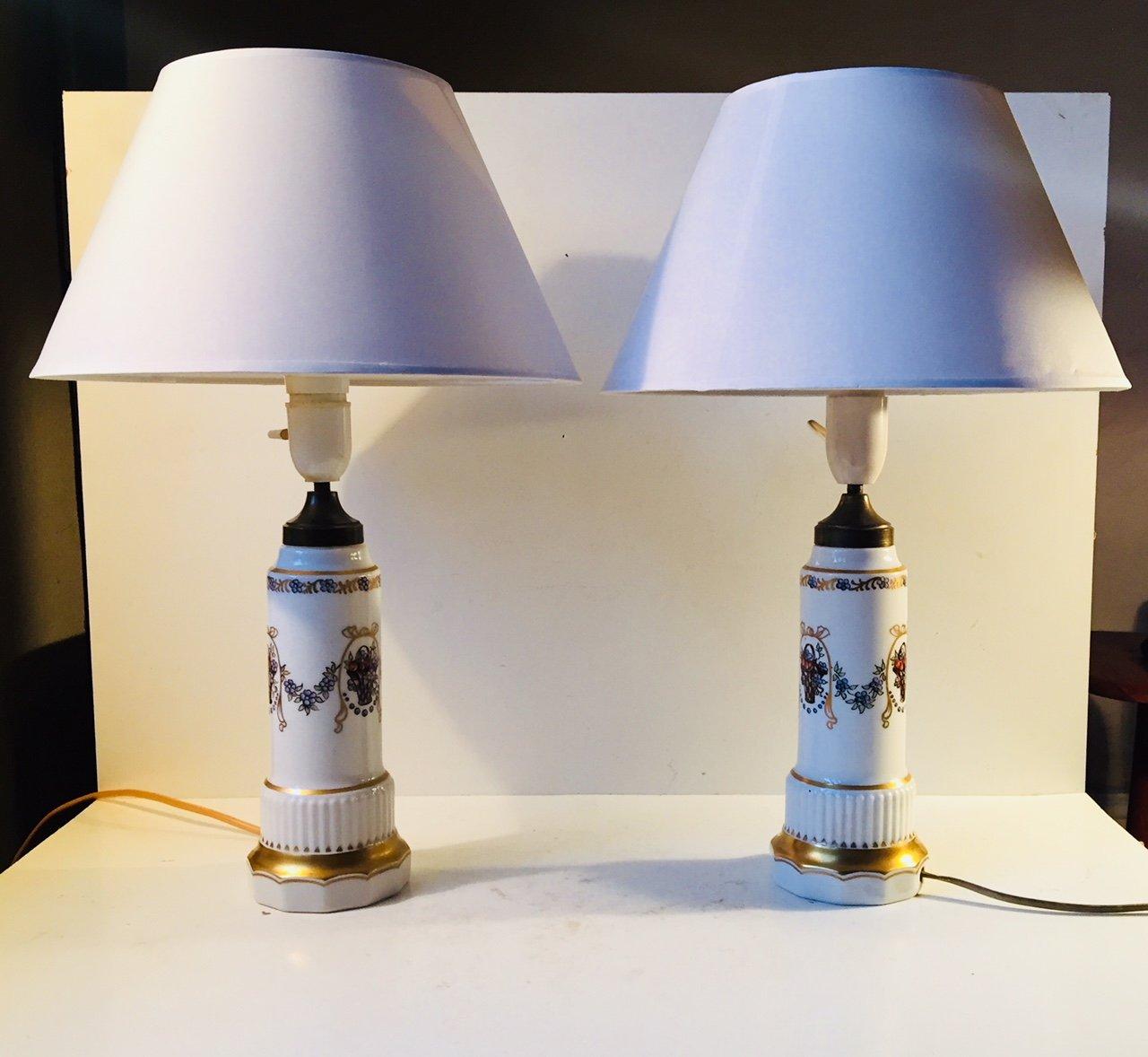 Dänische Porzellan-Tischlampen von Dahl Jensen, 1930er, 2er Set