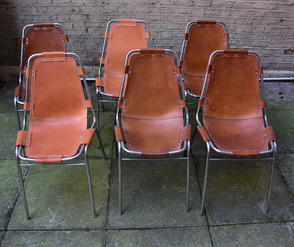 Vintage Les Arcs Chairs By Charlotte Perriand Set Of 6
