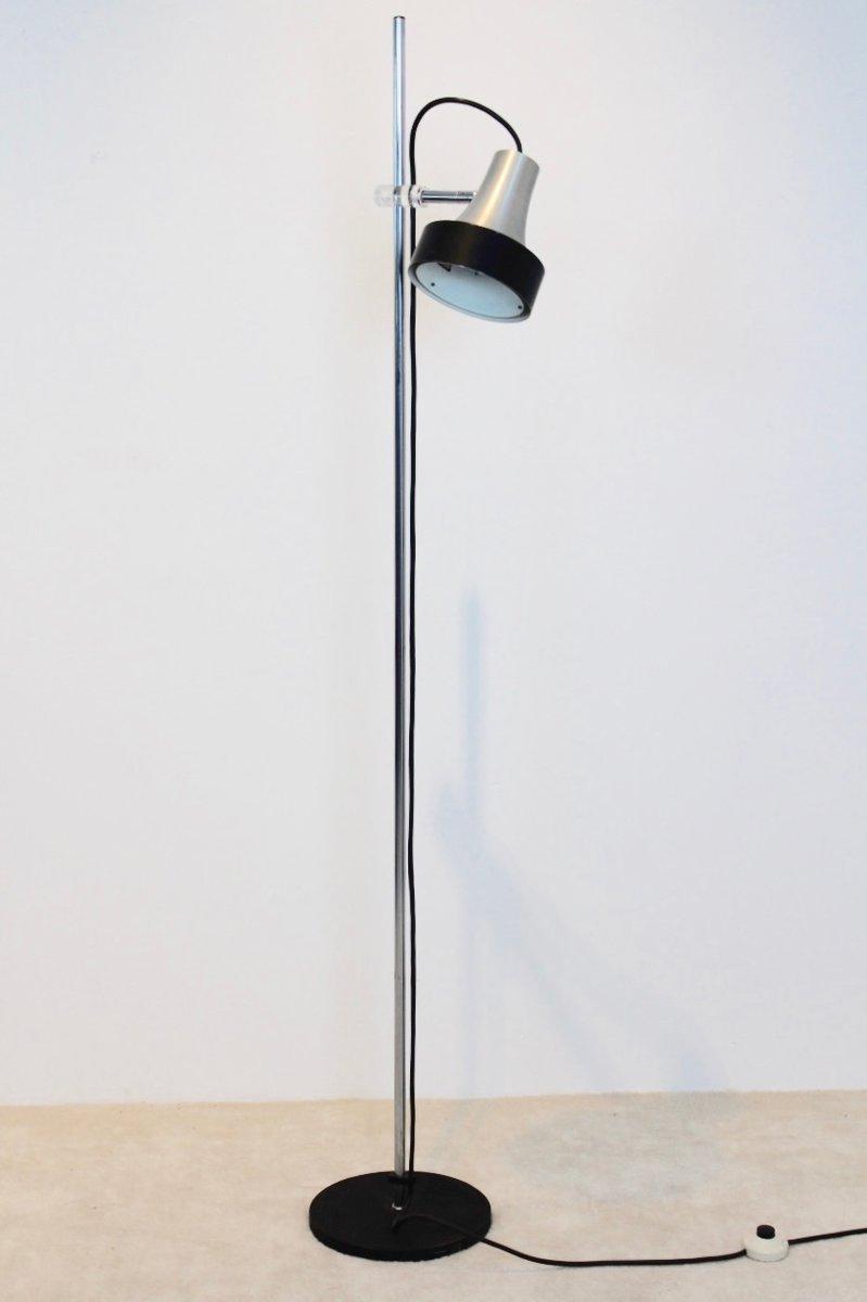 D-3202 Stehlampe aus Aluminium & Chrom von Raak, 1960er