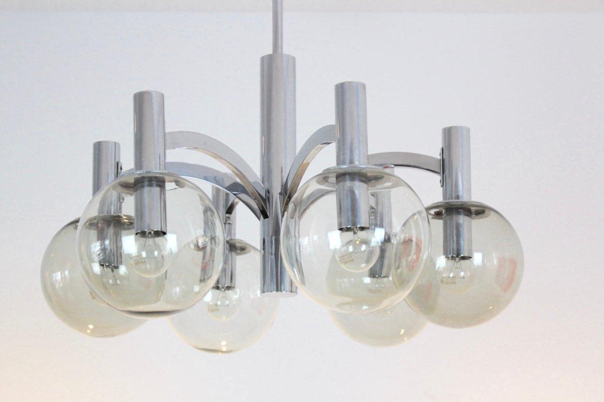 Vintage Kronleuchter aus Chrom & Glas von Kaiser Leuchten