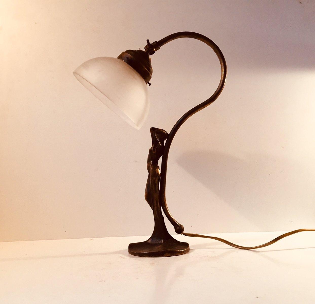 Französische Art Deco Bronze Tischlampe