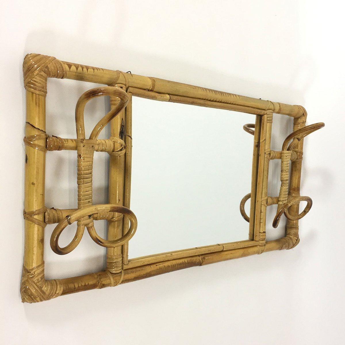 Vintage Rattan Garderobe mit Spiegel