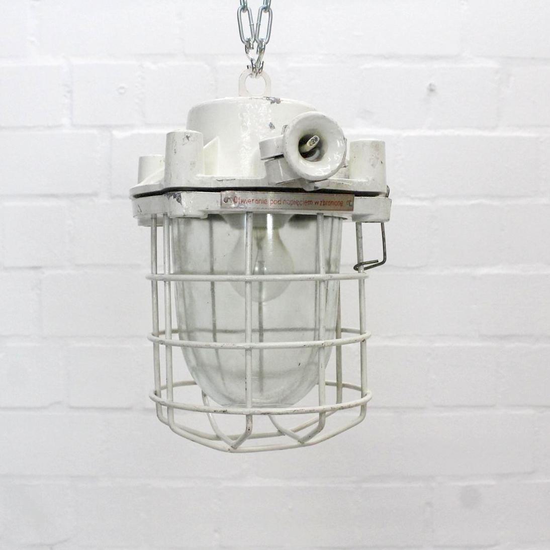 Kleine industrielle Vintage Loft-Deckenlampe in Weiß