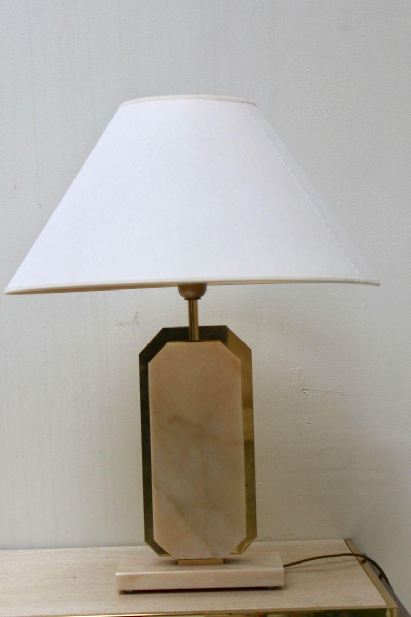 Tischlampe aus Marmor & Messing, 1970er